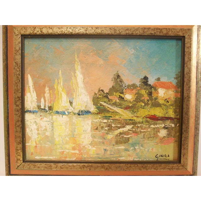 Vintage French Nautical Oil Painting - Image 3 of 7