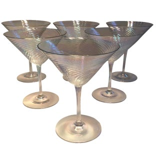 Vintage Crystal Opalescent Martini Glasses - Set of 6
