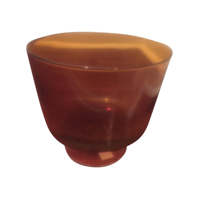 Image of Vintage Short Footed Amber Glass Bowl