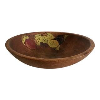 Mid-Century Munising Bowl With Handprinted Fruit Motif