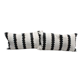 African Mud Cloth Black and White Queen Size Pillows - A Pair