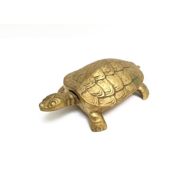 Antique Lidded Brass Turtle Trinket Box - Image 2 of 11