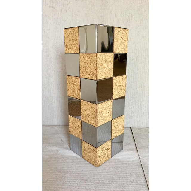 Paul Evans Style Cork & Chrome Pedestal Plant Stand - Image 2 of 6