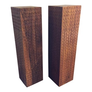 Hand Carved Acacia Wood Pedestals - A Pair