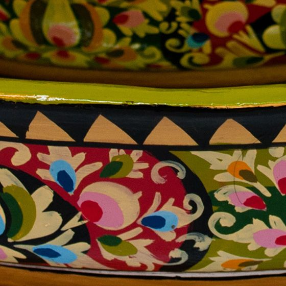 Hand-painted Floral Shallow Bowl Set - Image 2 of 2
