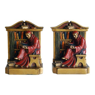 1920s Louis V. Aronson Cardinal In Library Bookends - A Pair