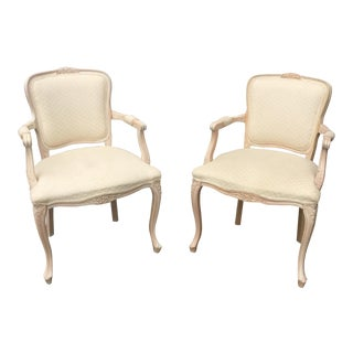 Blond Wood & Cream Bergere Chairs - A Pair