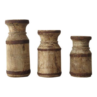 Rustic Wooden Candle Holders - Set of 3