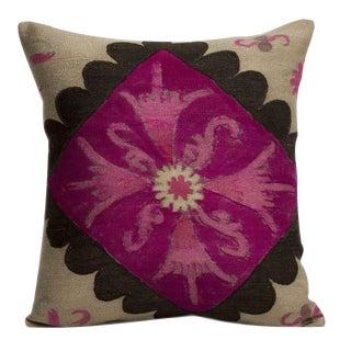 Silk & Cotton Embroidered Suzani Pillow