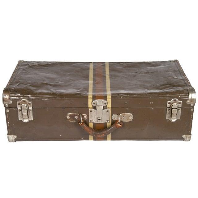 Vintage Dark Brown Striped Tin Suitcase - Image 1 of 5