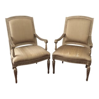 Silver & Gold Gilded Armchairs - Pair