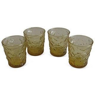 Mid-Century Amber Rocks Glasses - Set of 4