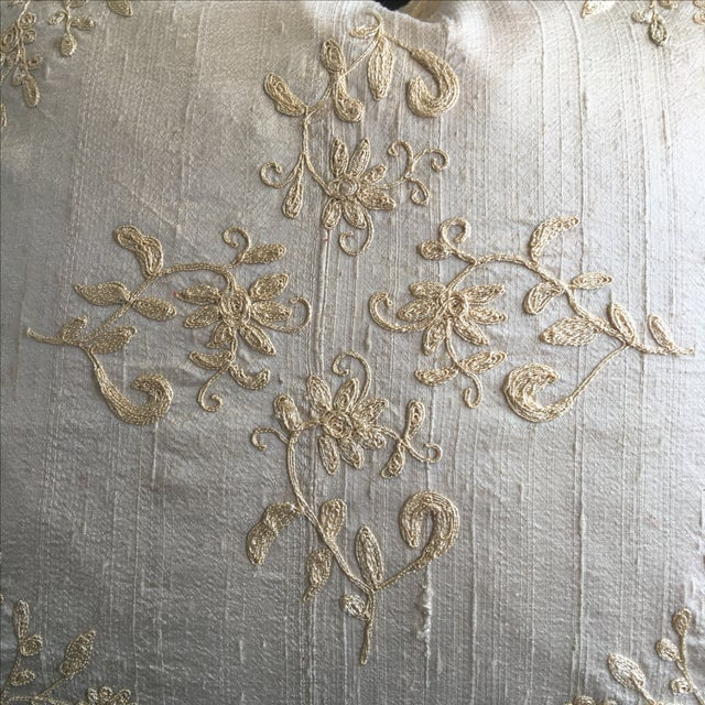 Luxury Raw Silk Embroidered Accent Pillow - Image 3 of 5