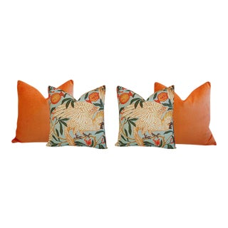 Orange Velvet Tropical Parrot & Pomegranate Feather Down Pillows - Set of 4