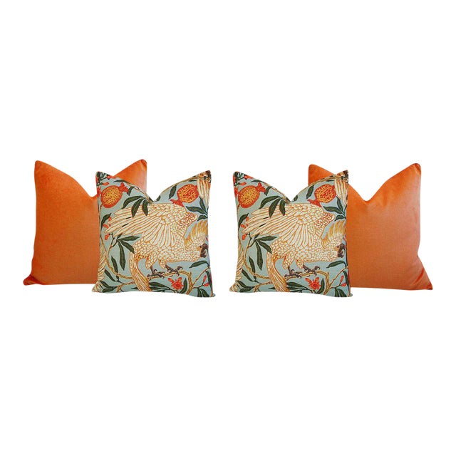 Orange Velvet Tropical Parrot & Pomegranate Feather Down Pillows - Set of 4 - Image 1 of 6