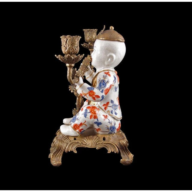 Pair of Chinoiserie Figural Porcelain and Ormolu Two Arm Candelabra - Image 5 of 9