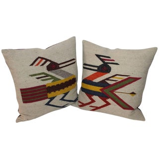 Pair of Mexican Indian Road Runner Weaving Pillows