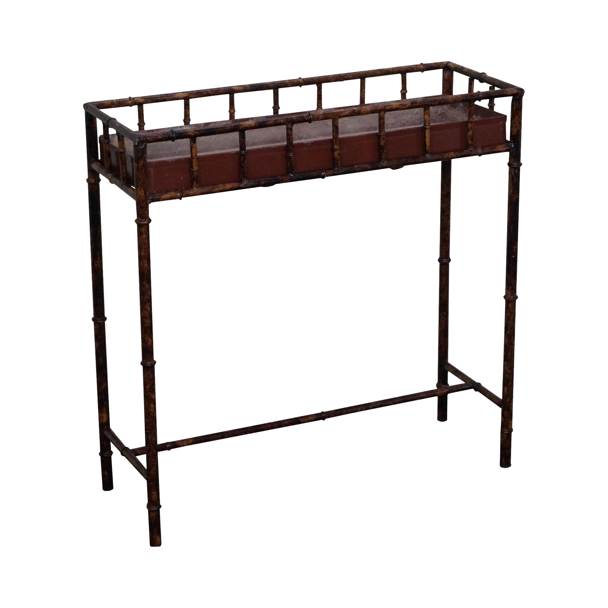 Faux Bamboo Painted Metal Planter Console Table