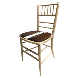 Faux Bamboo Painted Accent Chair with Cowhide Seat