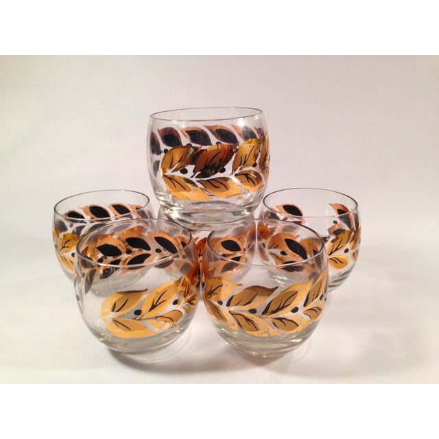 Gold & Black Roly Poly Bar Glasses - S/6 - Image 2 of 8