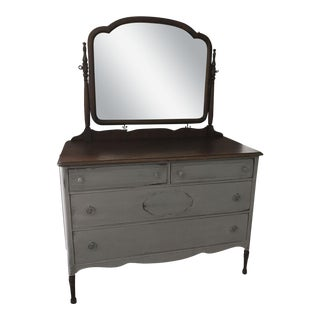Vintage Light Gray Dresser & Mirror