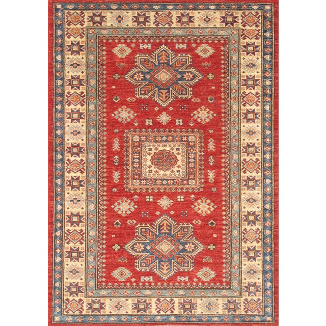 Wool Hand-Knotted Kazak Design Rug - 4'' x 6'' - Image 1 of 2