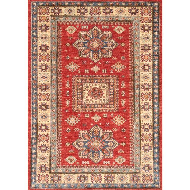 Image of Wool Hand-Knotted Kazak Design Rug - 4'' x 6''