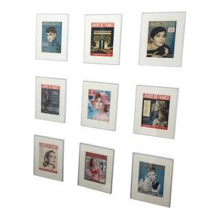 Vintage Framed French Prints - Set of 9