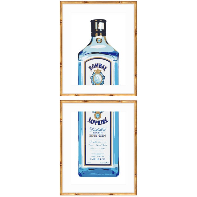 Gold Bamboo Framed Bombay Sapphire Gin Print Diptych - A Pair - Image 1 of 4