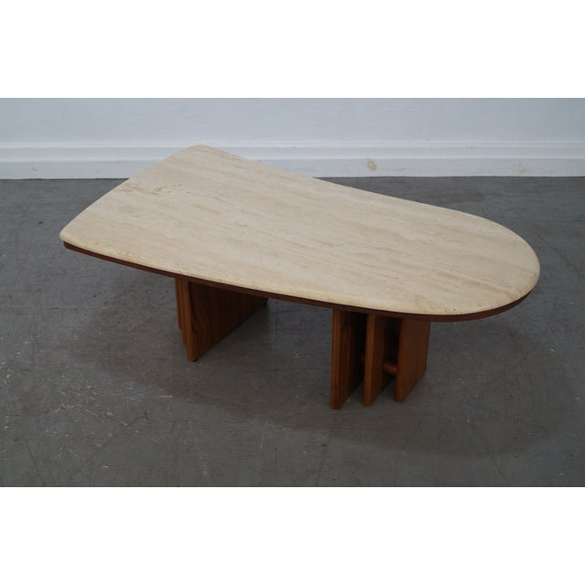 Danish Teak Base Travertine Top Coffee Table Chairish