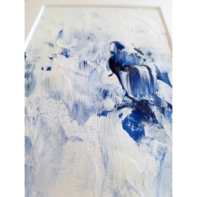 Bubble Bath Modern Abstract Blue & White Original Painting - Image 2 of 3