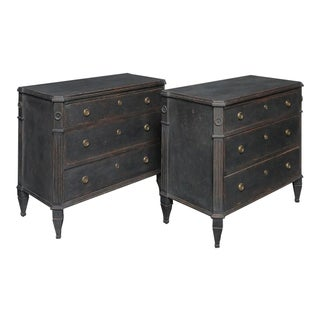 Pair of Black Painted Swedish Chests of Drawers (#62-03)