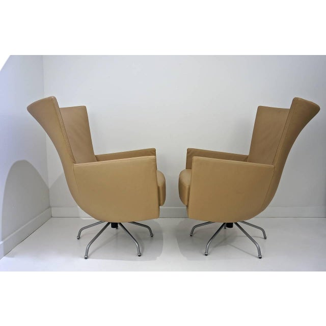 Pair of Modern, Italian, Swivel Lounge Chairs, Upholstered in Tan Color Leather - Image 7 of 9