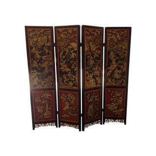 Chinese Lacquered and Gilt Wood Carved Screen