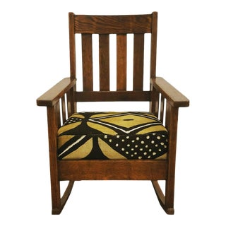 Antique Mission Oak Rocking Chair in African Mud-Cloth