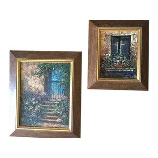 Paris Rue Montmartre Paintings - Pair