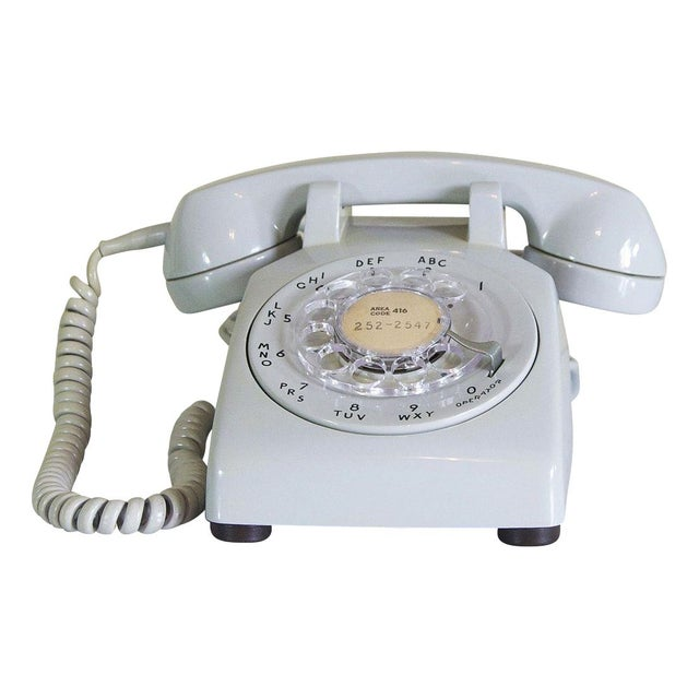Image of 1973 Dove Grey Rotary Desk Phone