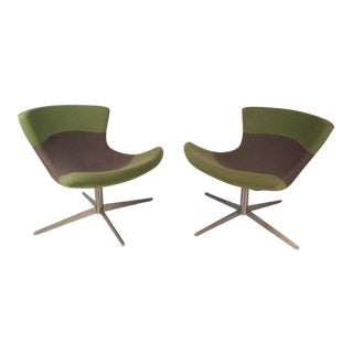 Arne Jacobsen Style Vintage Modern Lounge Chairs - a Pair