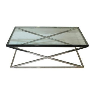 "Chrome ""X"" Base Glass Coffee Table"