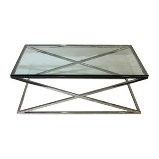 "Chrome ""X"" Base Glass Coffee Table"