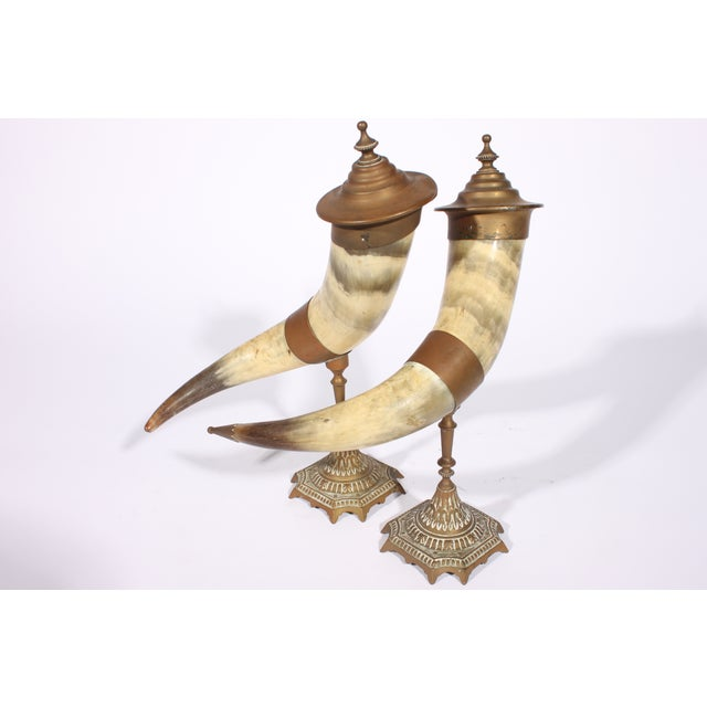 Victorian Brass Drinking Horns - Pair - Image 2 of 3