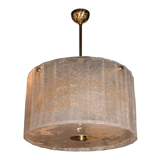 Midcentury Gold Flecked Murano Glass Drum Shade Chandelier with Brass Fittings
