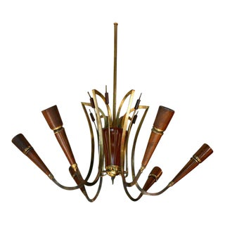 Elegant Italian Wood and Brass Chandelier