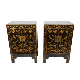 Beijing Style Black Lacquered Cabinets With Gold Butterfly Motif - A Pair