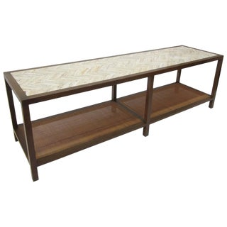 Harvey Probber Travertine and Cane Cocktail Table/ Bench