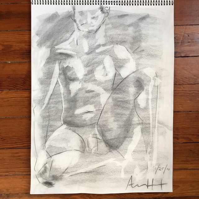 Seated Male Nude Drawing - Image 2 of 4