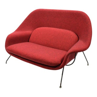 Eero Saarinen Womb Settee Upholstered in Alexander Girard Fabric