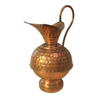 Hammered Copper Small Decorative Pitcher