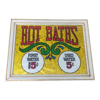 Hot Baths Reverse Glass Tinsel Painting