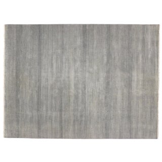 Modern Transitional Grass Cloth Patterned Area Rug - 9' X 12'1""